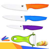 Multi Color Kitchen Knives With Peeler 4 Pcs Set Ceramic Knives XYJ Brand Cooking Knives Ergonomic