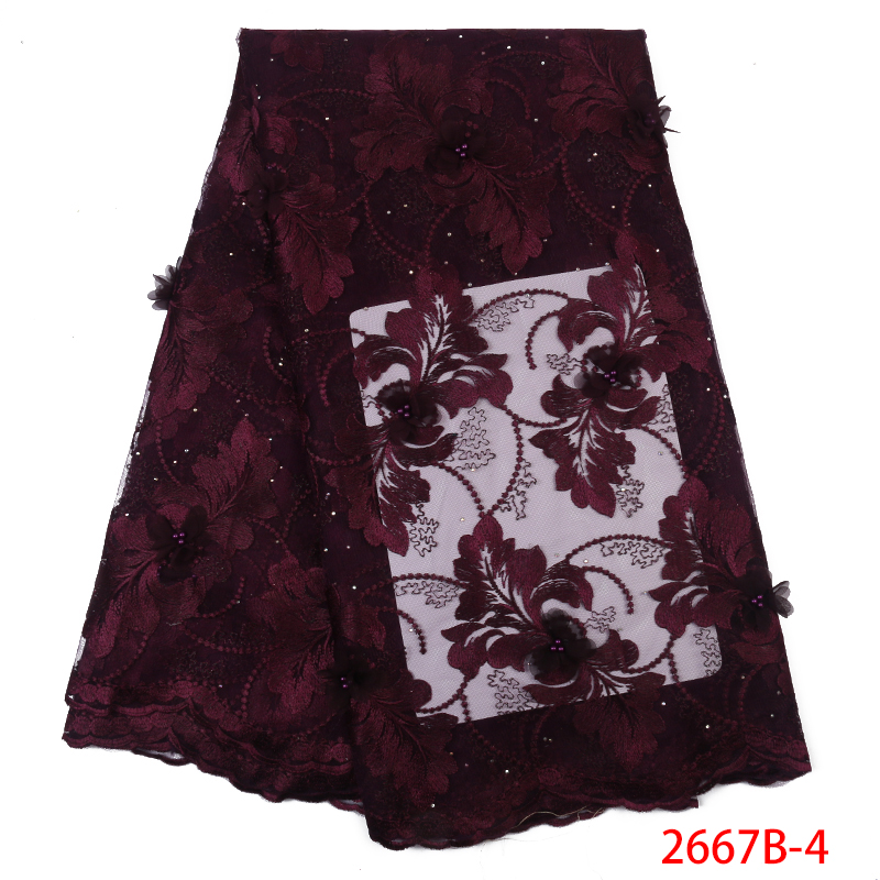 2020 Latest French Tulle Lace Fabric High Quality 3D Flower Lace Fabric African Embroidery With Beads For Dresses  KS2667B