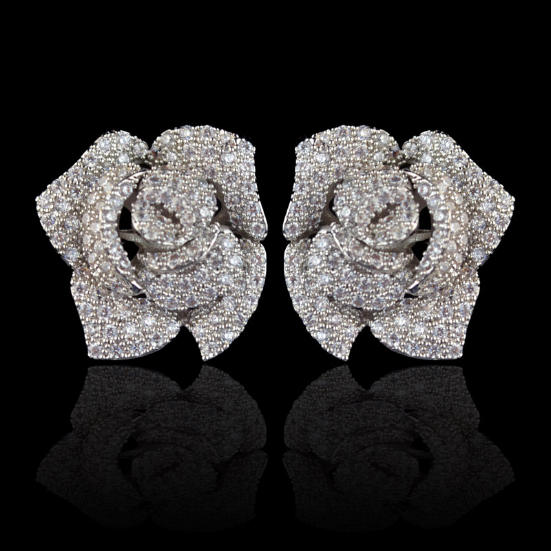 New design micro pave AAA zircon rose flower stud earrings for women/girls,high quality CZ party ...
