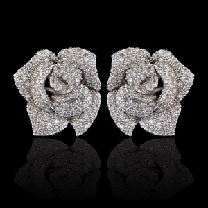 Image 1 - New design micro pave AAA zircon rose flower stud earrings for women/girls,high quality CZ party/wedding jewelry earring