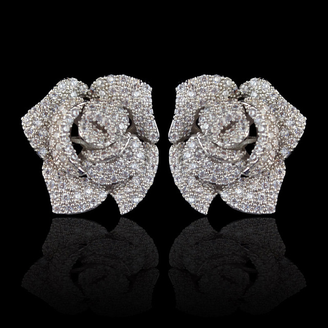 New design micro pave AAA zircon rose flower stud earrings for women/girls,high quality CZ party/wedding jewelry earring