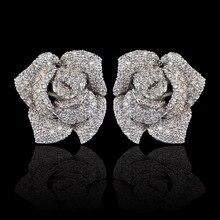 Nuevo diseño micro pave AAA circón Rosa flor stud pendientes para mujeres/niñas, alta calidad CZ fiesta/boda joyería pendiente