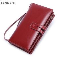 SENDEFN Wallet Women Top Quality Leather Wallet Multifunction Female Purse Long Big Capacity Card Holders Purse Vallet