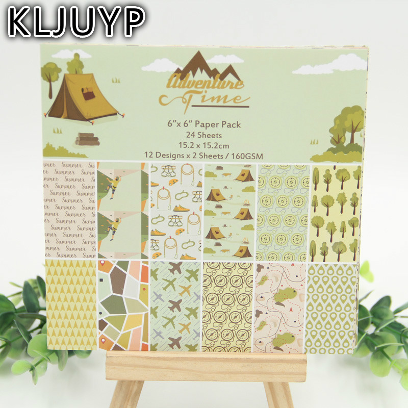 KLJUYP 6 Single Printed Journey adventure time pattern creative papercraft art paper handmade scrapbooking kit set books