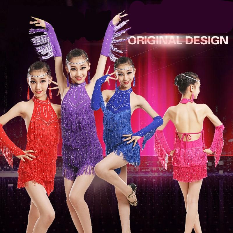 106940475 Latin Dance Dress Women CHEAPEST D0304 Salsa Dance Wear Lyrical Dance  Costumes with Tassels 2 Colors