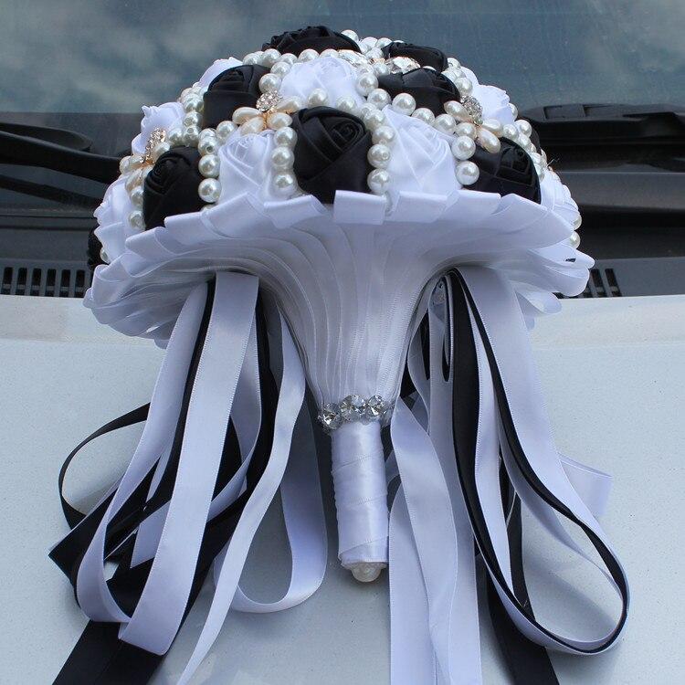 New Arrival Handmde Black White Bouquet Pearl Bridal Bouquet de ...