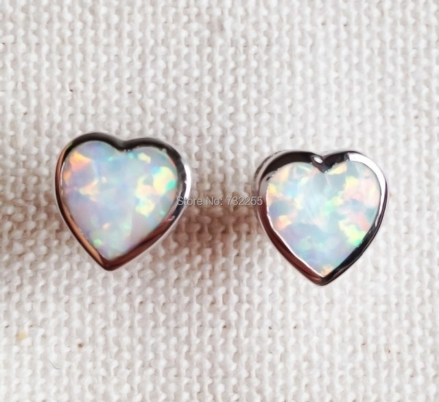 Heart Shaped Blue White Fire Opal Earrings