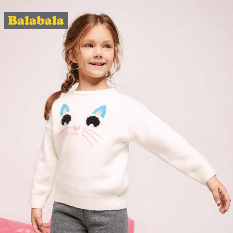 Suéter de punto suave Balabala para niña pequeña con apliques para niños y niñas jersey con Ribbing en puños y dobladillo de cuello redondo