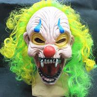 Clown Circus With Hair Colors Cosplay Novel Halloween Cos Face Party Mask Latex Hood Power Ranger