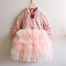 Christmas 2016 Baby Girls Crochet Lace tulle Dresses Kids Girls Princess tutu Party Dress Girl Autumn Winter Xmas Clothing