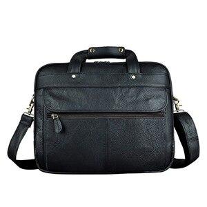 Image 3 - Erkek yağ balmumu deri antika tasarım iş evrak çantası dizüstü evrak çantası moda ataşesi askılı çanta Tote portföyü 7146