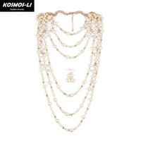 Layered Chokers Wholesale New Fashion Statements Acrylic Beads Necklace Beautiful Jewelry For Women With Earring 8028