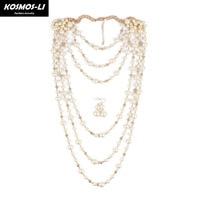 KOSMOS-LI inci takı trendy bildirimi kolye benzetilmiş İnci boncuk altın plaka çok katmanlı kadınlar moda gelin takı 6320