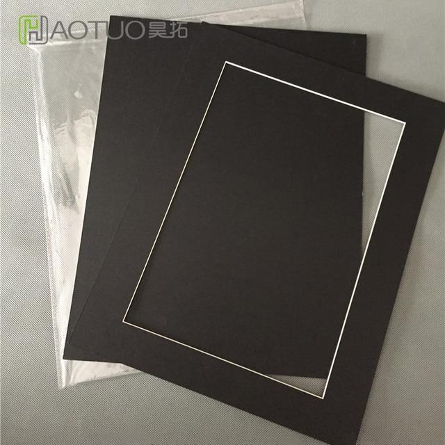 Black White Cream Acid Free Cardboard 11x14 Photo Frame With Mat