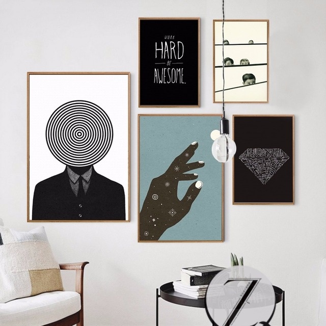 Nordic Style Home Decoration Abstract Wall Art Diamond Wall Pictures ...