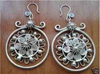 100% Brand New High Quality Fashion Picture Sell Image unique beautiful Chinese miao silver earrings