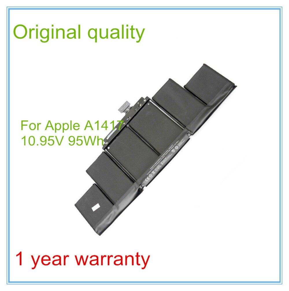 8460mAh Original  Laptop Battery A1417 For Pro 15 Retina A1398 2012 MC975 MC976 10.95V 95WH 43w4342 44e8763 battery for mr10i mr10is original 95