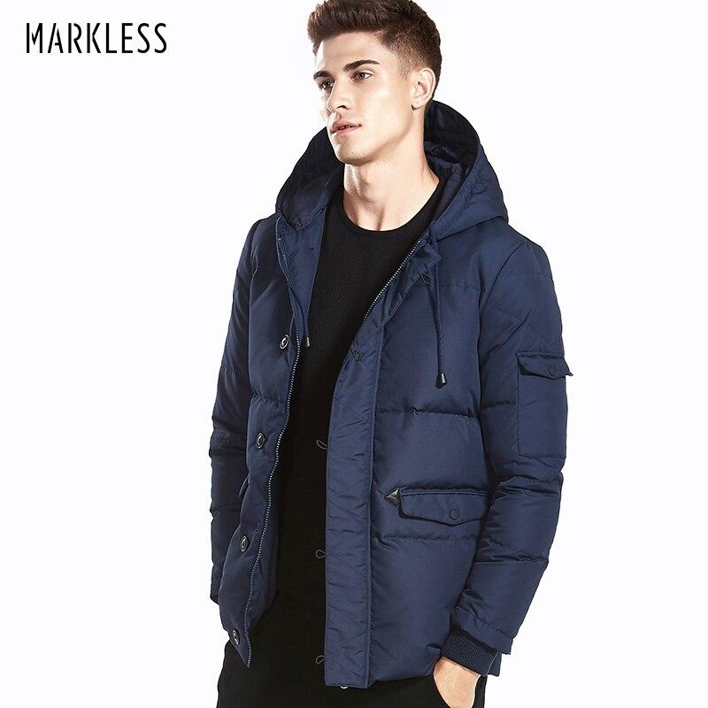 Markless бренд 2017 Для мужчин толстый теплый с капюшоном Подпушка зимняя куртка 90% белая утка Подпушка верхняя одежда ветрозащитная куртка мужской зимнее пальто