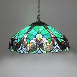 FUMAT śródziemnomorskie lampy wiszące Tiffany witraż hanglamp Peacock lampa artystyczna luminaria led dome plafondlamp lampa wisząca|Wiszące lampki|   -