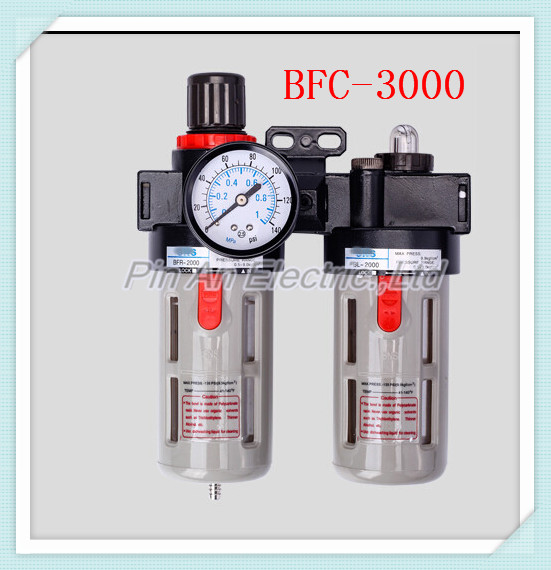 BFC3000 Free Shipping 3/8 Air Filter Regulator Combination Lubricator ,FRL Two Union Treatment ,BFR3000 + BL3000 afc2000 g1 4 air filter regulator combination lubricator frl two union treatment afr2000 al2000