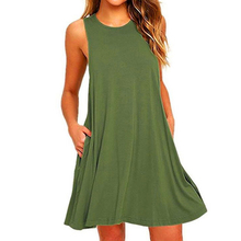 Daily Shopping Pullover Knee Length Sleeveless A Line Crew Neck Travel With Pockets Solid Color Wome