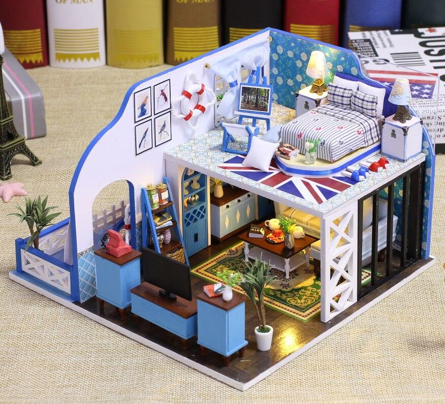 Kits de construction miniatures de maison de poupée côte bleue casa de boneca meubles de maison de poupée en bois cadeaux de noël jouets pour enfants