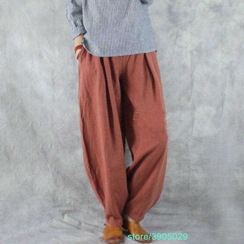 Femmes Harem pantalon Vintage grande taille taille élastique lin coton pantalon pour les femmes Bloomers femme Robe