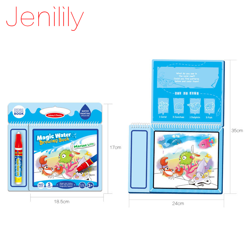 Jenilily JN2327-1 Marine Life Magic Water Drawing Book Coloring Book Doodle with Magic Pen Painting Board Juguetes For Children