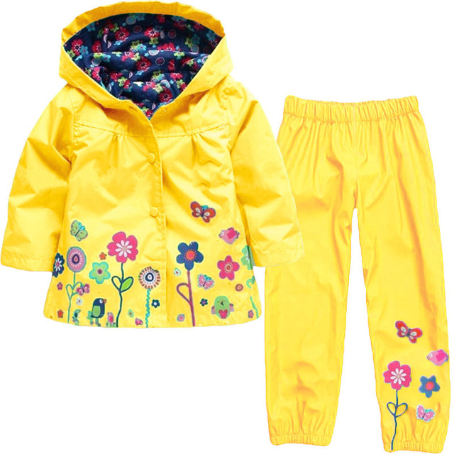 Girls Clothing Raincoat Sets Autumn Baby Casual Hoodie Jackets Pants Kids Spring Sport Suit Children Waterproof Coat Outfit 2