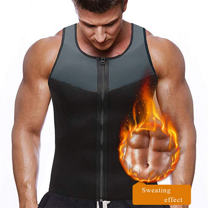 Mens Trainning Vest Slimming Zipper Neoprene Sweat Shirt Gym Fitness Trainning Sportswear Male Compression Shirts Bodybuliding