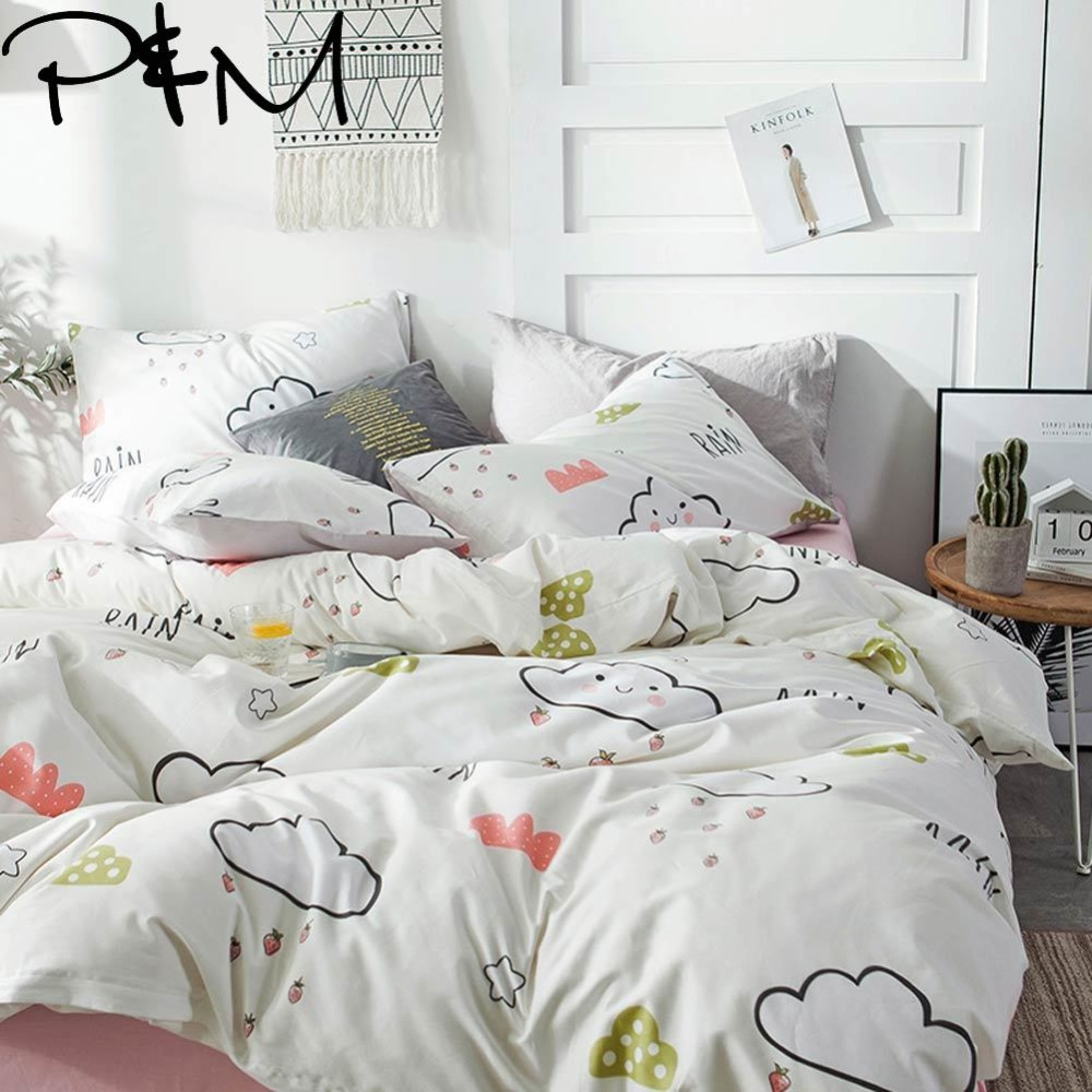 PAPA&MIMA Clouds and strawberries print Cartoon style bedding sets cotton Twin Queen Size duvet cover set bedsheet pillowcases
