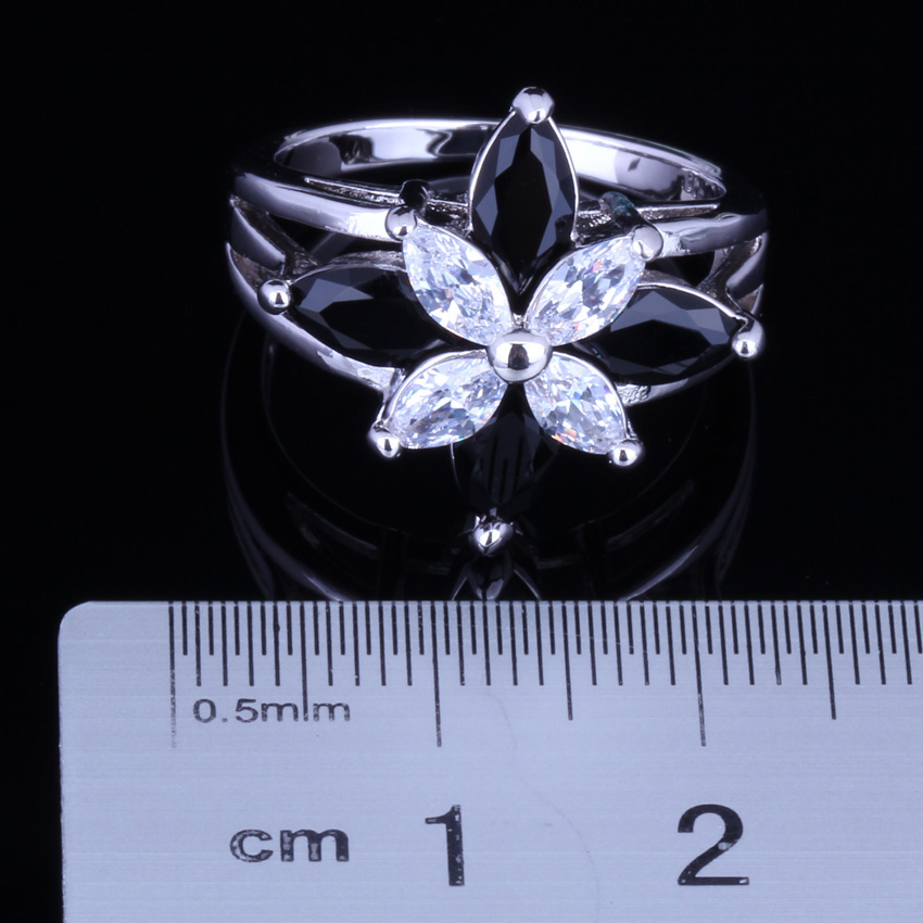 Fetching Frog Black Cubic Zirconia White CZ 925 Sterling Silver Ring For Women V0134 in Rings from Jewelry Accessories