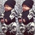 Niño Recién Nacido Niño Niños Bebé Oso de La Muchacha Tops de La Camiseta y Pantalón y sombreros negros Trajes Fijados Ajuste 6-9 meses