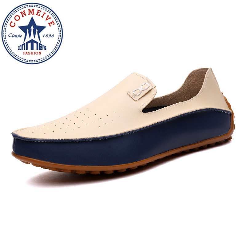 Plus 38-47 2017 Summer Causal Shoes Men Loafers Genuine Leather Microfiber Leather High Quality Hollow Out Breathable Man Flats summer causal shoes men loafers genuine leather moccasins men driving shoes high quality flats for man