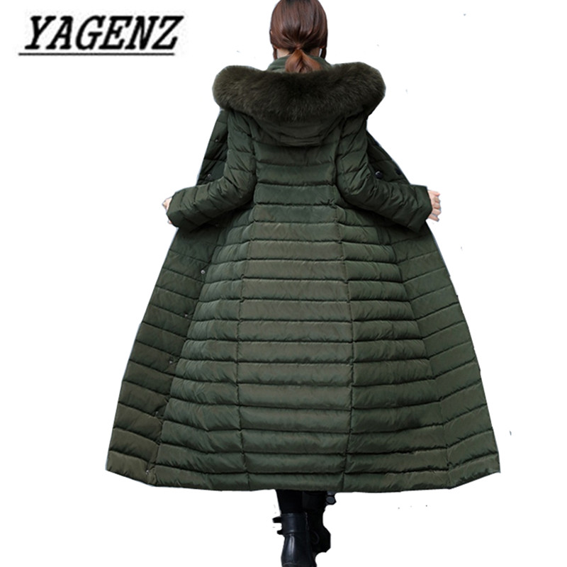 Winter Down Cotton   Parkas   Jacket Warm Hooded Coats Women Clothing High Quality Slim Fox Fur collar Thick X-Long Coats 2017 New