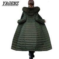 Winter Down Cotton Parkas Jacket Warm Hooded Coats Women Clothing High Quality Slim Fox Fur collar Thick X Long Coats 2017 New