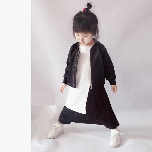 2017 nuevos niños primavera chaqueta de cremallera abrigo kids vuelo boomer sólido negro