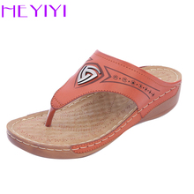 Купить с кэшбэком Wedges Slipper Women Shoes Platform Comfortble Flip-flops Summer Casual Rome Newest Soft Lightweight Mama Ethnic Shoes HEYIYI