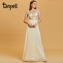 Tanpell sequins evening dress daffodil flowers sleeveless a line floor length dresses women scoop formal prom long gown
