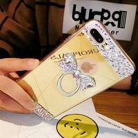 New Luxury Women Diamond Rhinestone Bow Mirror TPU Cover Crystal Ring Lady Phone Case Handmade DIY