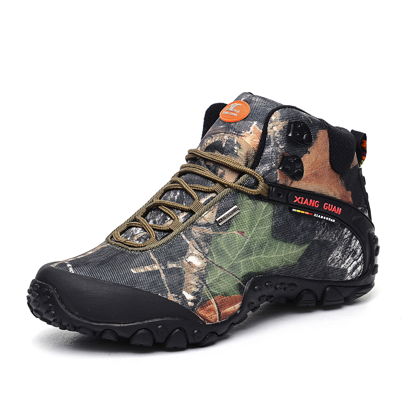 Camo Breathable Water Resistant Lace-up High-top Mesh Outdoor Sports Trekking Hiking Shoes Men Camping Travel Climbing Sneakers bolangdi 2017 new anti slip outdoor men hiking shoes high quality trekking camping shoes breathable lace up brand sport sneakers