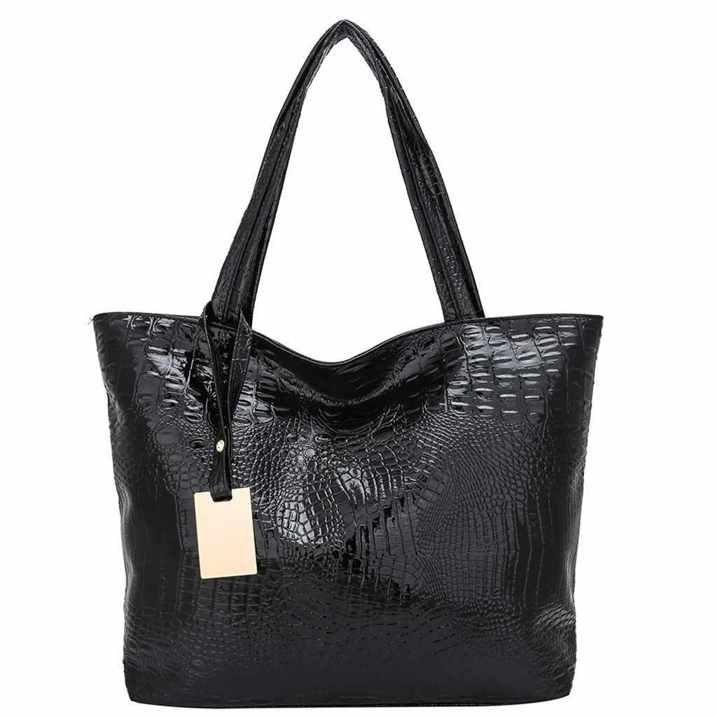 Wanita Dompet dan Tas Kulit Wanita Wanita Fashion Alligator Solid Kapasitas Besar Satu Bahu Tote Tas Tangan Tas