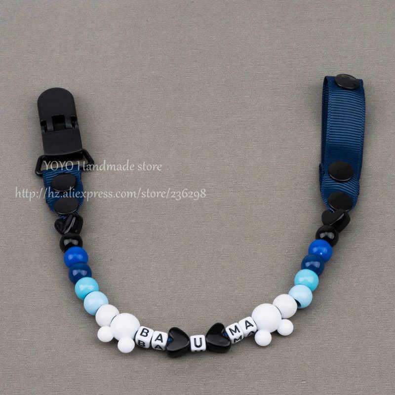 MIYOCAR personalizado-cualquier nombre 2016 hecho a mano azul cuentas blancas dummy clip titular chupete clips para chupete cadena para bebé