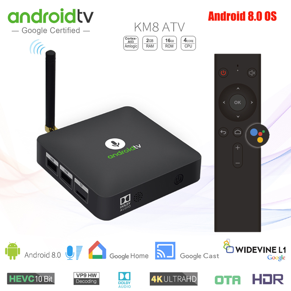 MECOOL KM8 ATV Voice Control Google Android 8.0 TV Box 2GB 16GB Amlogic S905X Support Google Player Store Netflix HD Youtube 4K hd плеер sony nsz gs7 internet player with google tv