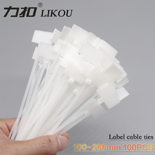 LIKOU Lable Cable Ties Self-locking 3*100mm 4*150mm 4*200mm Plastic zip ties Label Mark Tags 100PCS White