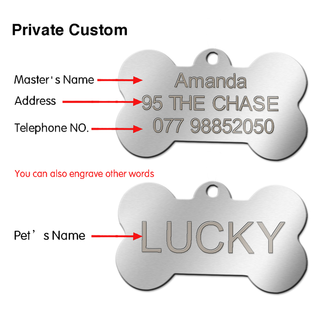 Stainless Steel Customized Dog ID Tags Engraved Personalized Cat Pet Tags Round Bone Shape