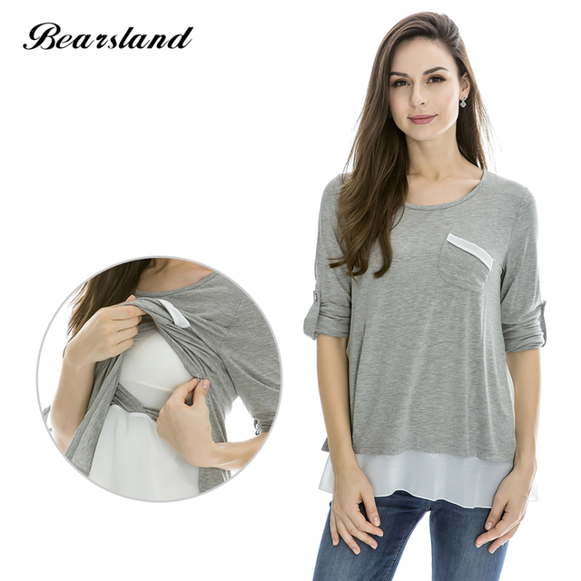 e1b8d6171f1 Nursing Tops Maternity shirt Breastfeeding Clothes for Pregnant Women  Fashion style Chiffon Comfortable Nursing Clothes