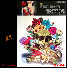 Temporary tattoo color 3 d skull tattoo on the body of female male body art tattoo stickers BY-04