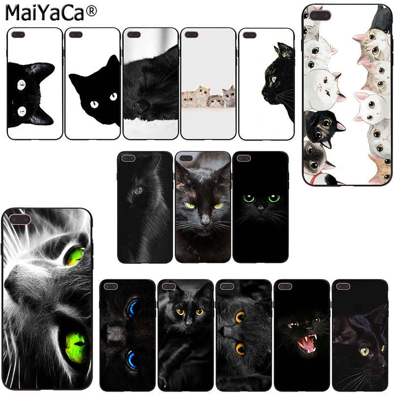 MaiYaCa kawaii Anime Black Cat Staring Eyes Black Soft silicone Phone Case  For iphone 11 pro 5sXS 6s 7 plus 8 8plus X XR XS MAX