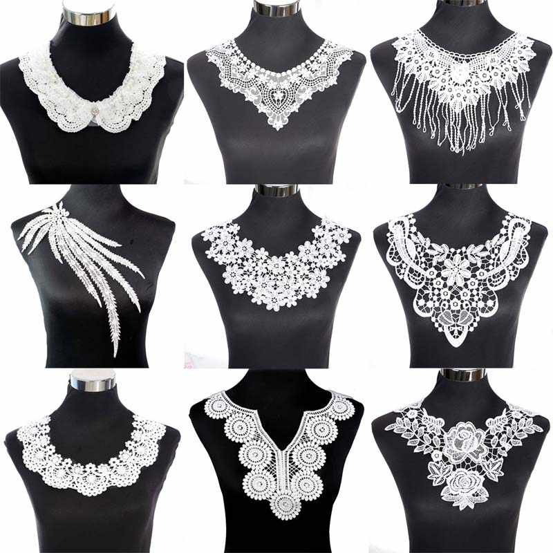 Flower Floral Embroidered Lace Neckline Collar Trim Neck Applique Clothes Dress Sewing Supplies Craft Classic Accessories
